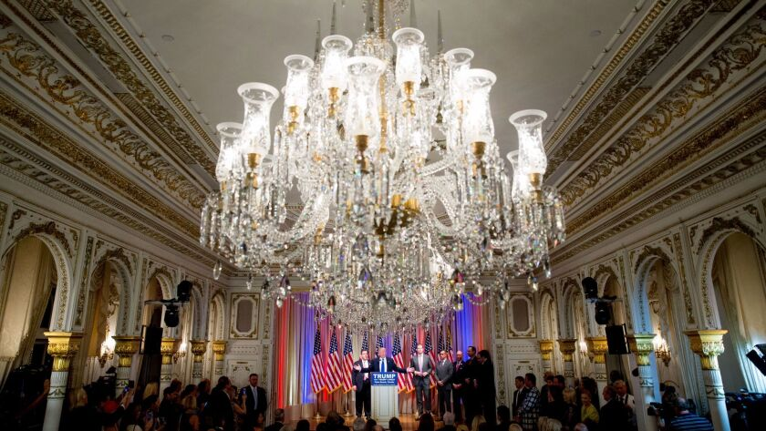 Republican presidential candidate Donald Trump speaks during a news conference in the White and Gold Ballroom at The Mar-A-Lago Club in Palm Beach, Fla. on March 1, 2016.