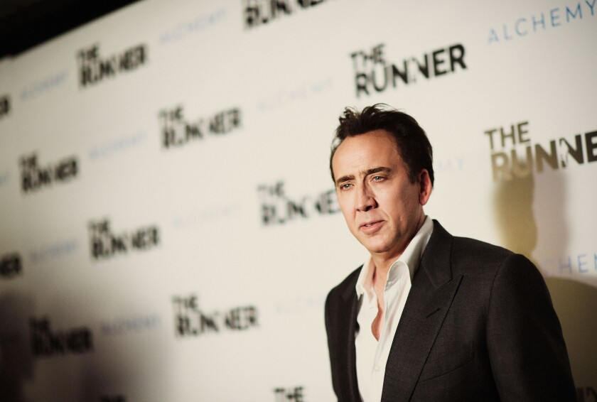 "Actor Nicolas Cage attends Paper Street Films' Screening of ""The Runner"" at TCL Chinese 6 Theatres on Aug. 5, 2015, in Hollywood."
