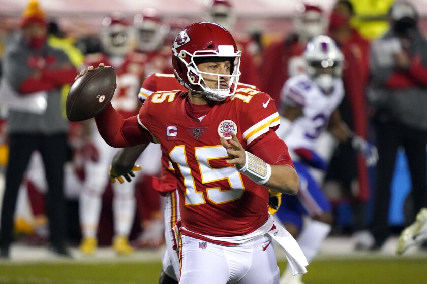 Kansas City Chiefs quarterback Patrick Mahomes passes during Sunday's win over the Buffalo Bills.