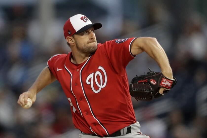 Nationals pitcher Max Scherzer delivers a pitch.