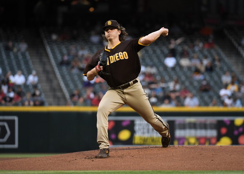 The Padres' Ryan Weathers delivers a first inning pitch against the Arizona Diamondbacks at Chase Field on Wednesday.