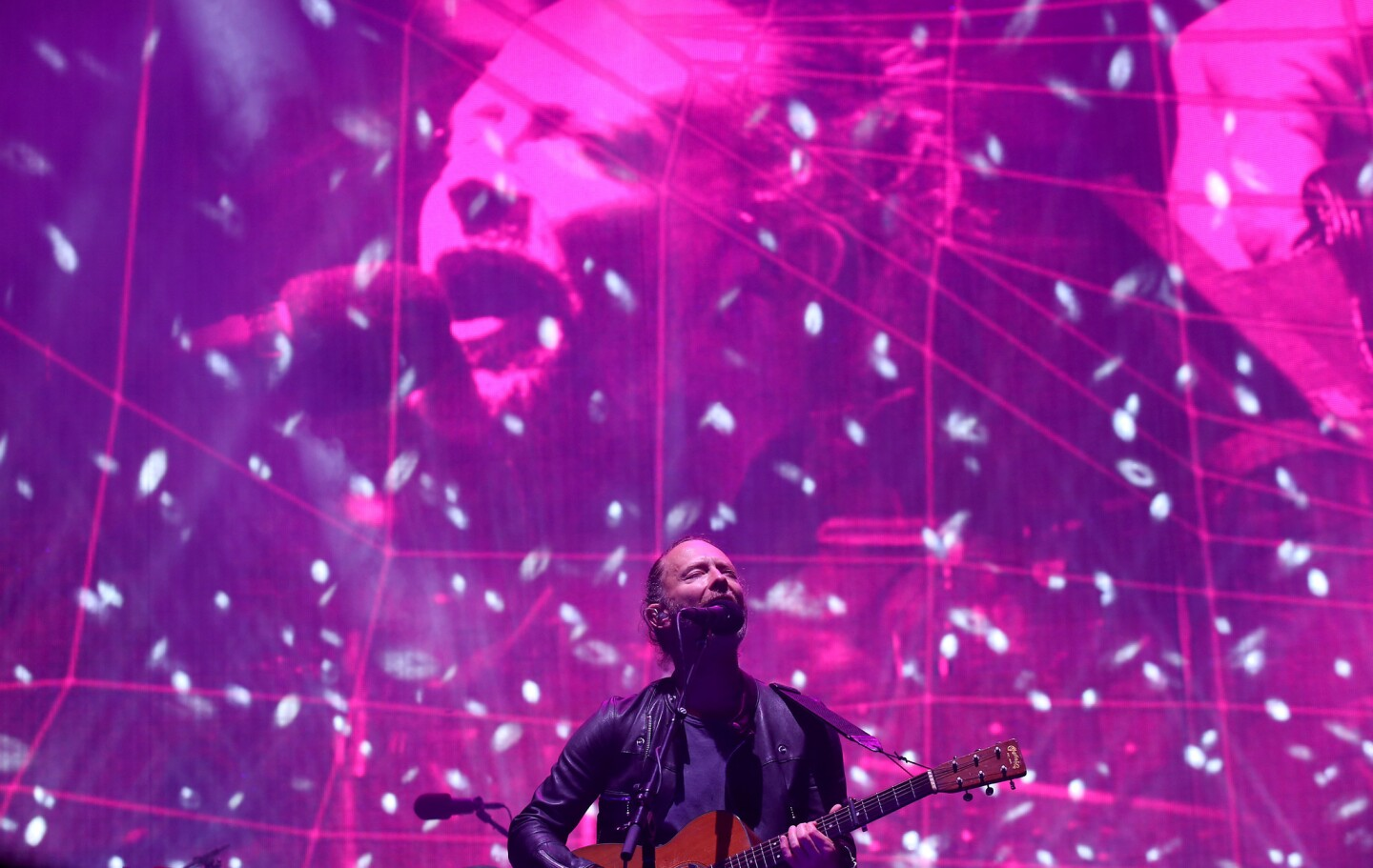 Thom Yorke of Radiohead performs on the Coachella Stage on day one of the festival.