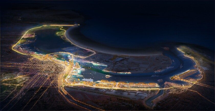A futuristic rendering of San Diego's port district as seen at night.
