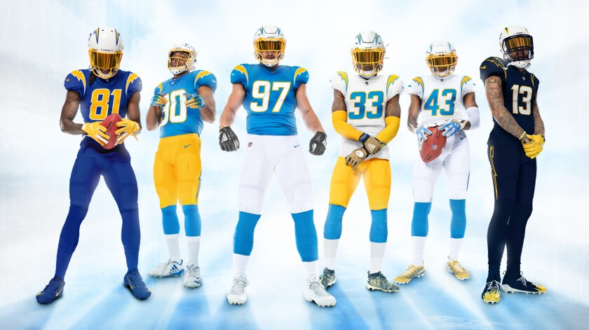 Chargers players unveil 2020 uniforms