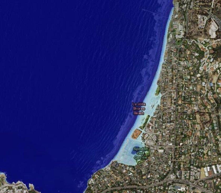 La Jolla Shores in the event of a 6-foot sea level rise.