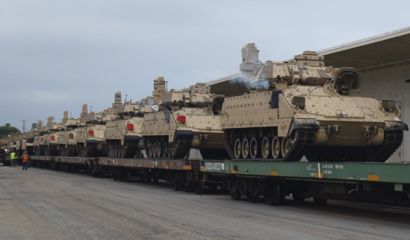 These tanks were seen in Southern California this week. Officials say they were for routine work and not related to the coronavirus.