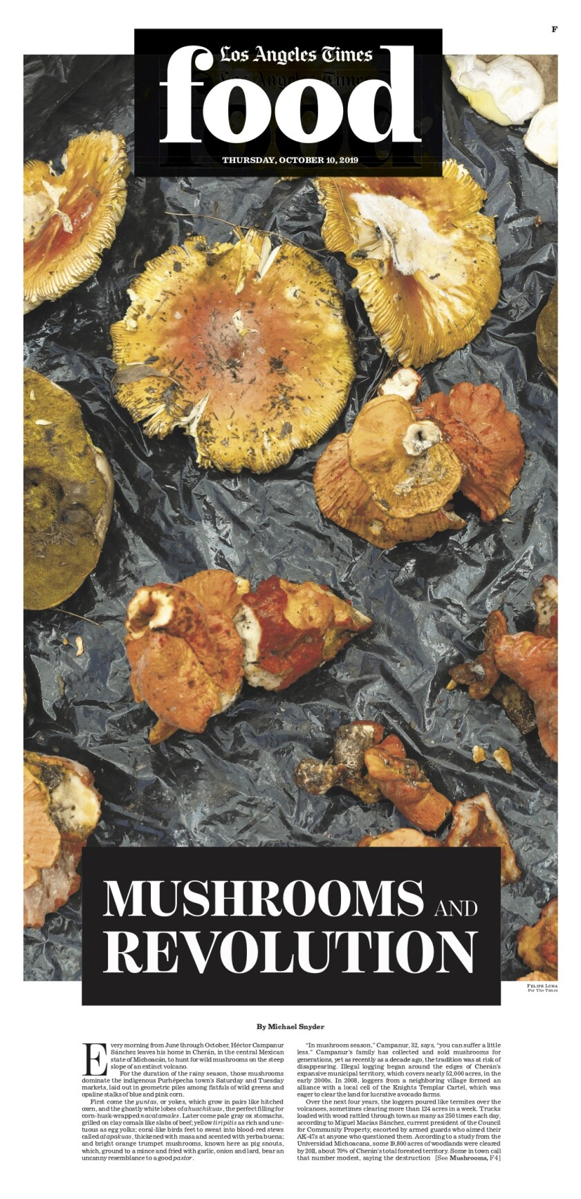 Los Angeles Times Food cover, October 10, 2019