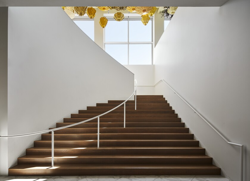 A staircase redesigned by Johnston Marklee at the MCA Chicago