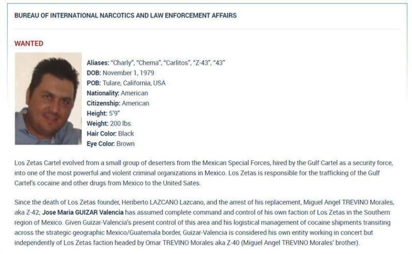 """Imagen cedida hoy, viernes 9 de febrero de 2018, por el Departamento de Estado de los Estados Unidos, de la ficha de búsqueda de José María Guizar Valencia """"Z 43"""", detenido este jueves 8 de febrero en México. EFE/U.S.DEPARTMENT OF STATE/ SOLO USO EDITORIAL / NO VENTAS"""