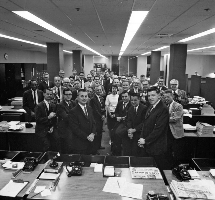 Dorothy Townsend, one of the first female reporters in the Times newsroom — the only woman among a sea of men in suits in the official photograph of the 1966 Pulitzer Prize–winning team.