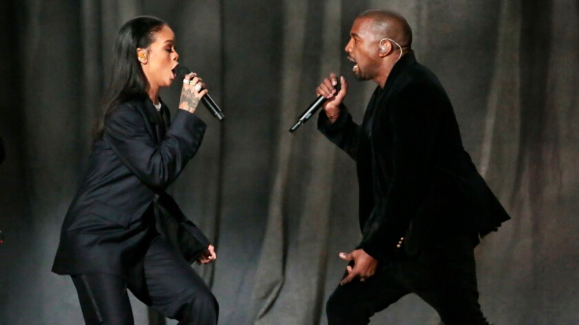 Rihanna and Kanye West perform at the Grammys on Feb. 8, 2015.