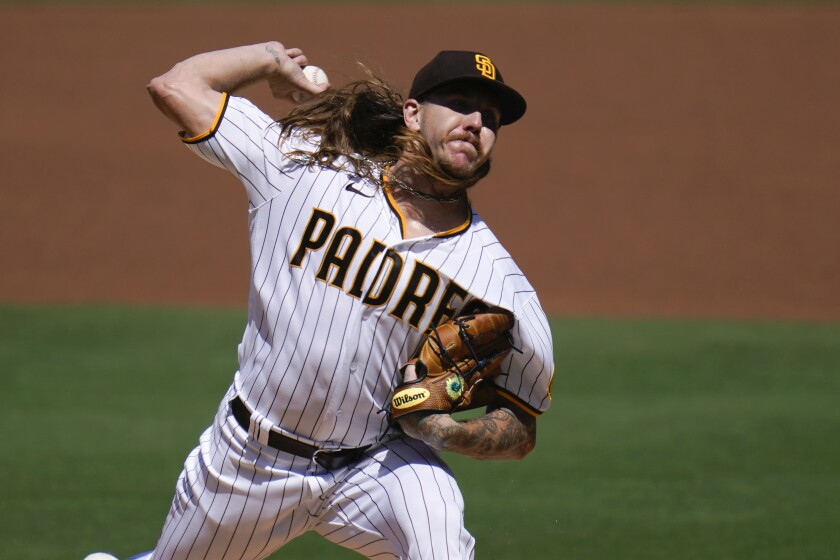 San Diego Padres starting pitcher Mike Clevinger delivers against the Angels.