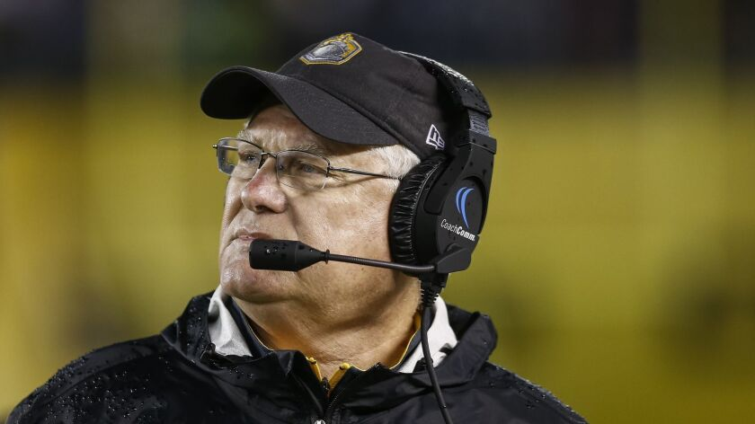 Mike Martz brought NFL-level expertise to not only San Diego Fleet players but coaches such as young assistant Tynan Murray.