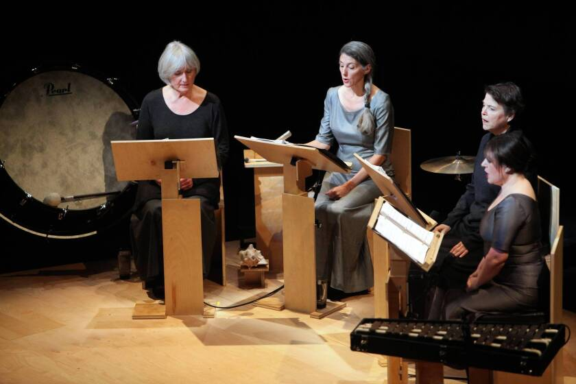 """""""Love fail,"""" a piece composed and directed by David Lang, was performed by Anonymous 4 at Royce Hall on Saturday evening."""