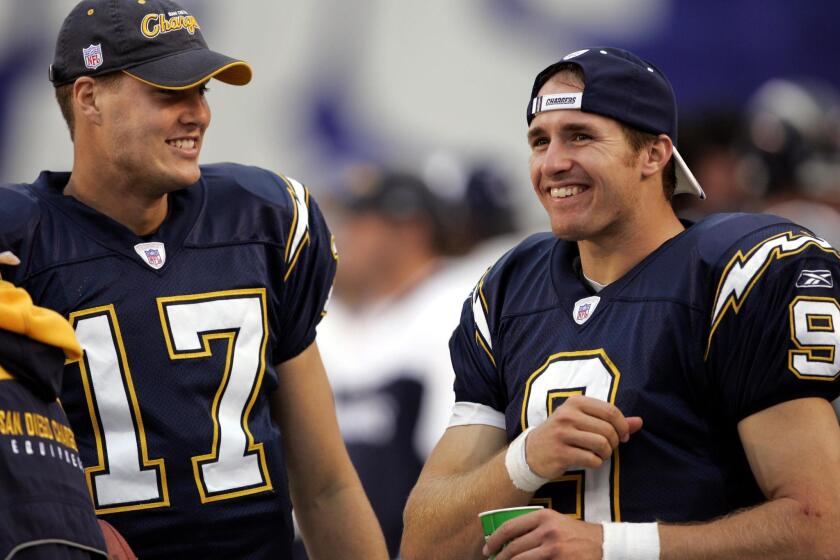 Philip Rivers (17) didn't miss a start in his final 14 seasons with the Chargers but he began his career in 2004 as a backup to Drew Brees.