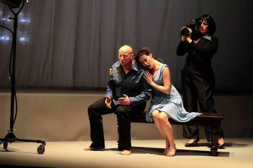 "Tenor Daniel Norman, soprano Jane Sheldon and mezzo soprano Janna Baty in ""The Face."""