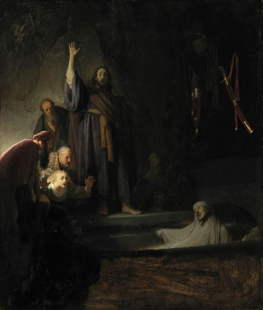 "Rembrandt van Rijn, ""The Raising of Lazarus,"" circa 1630-1632, oil on panel"