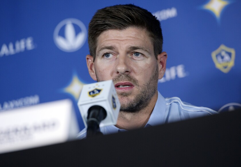 CARSON, CA - JULY 7: New Los Angeles Galaxy midfielder Steven Gerrard #8 speaks during a news conference on July 7, 2015 at StubHub Center in Carson, California. The former Liverpool captain Steven Gerrard is scheduled to play his first MLS match on Friday, July 17 at StubHub Center against San Jose Earthquakes. (Photo by Kevork Djansezian/Getty Images) ** OUTS - ELSENT, FPG - OUTS * NM, PH, VA if sourced by CT, LA or MoD **