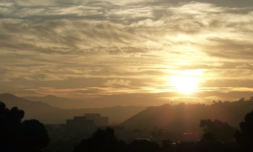 Sunrise over Mission Valley Wednesday morning.