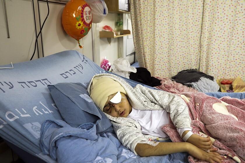 Malik Eissa, 9, at a Jerusalem hospital in February.