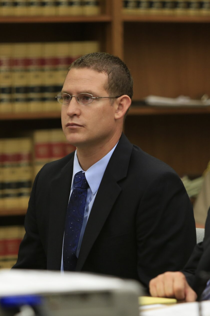 Former San Diego Police Officer Christopher Hays pleads guilty in San Diego Court in August 2014.