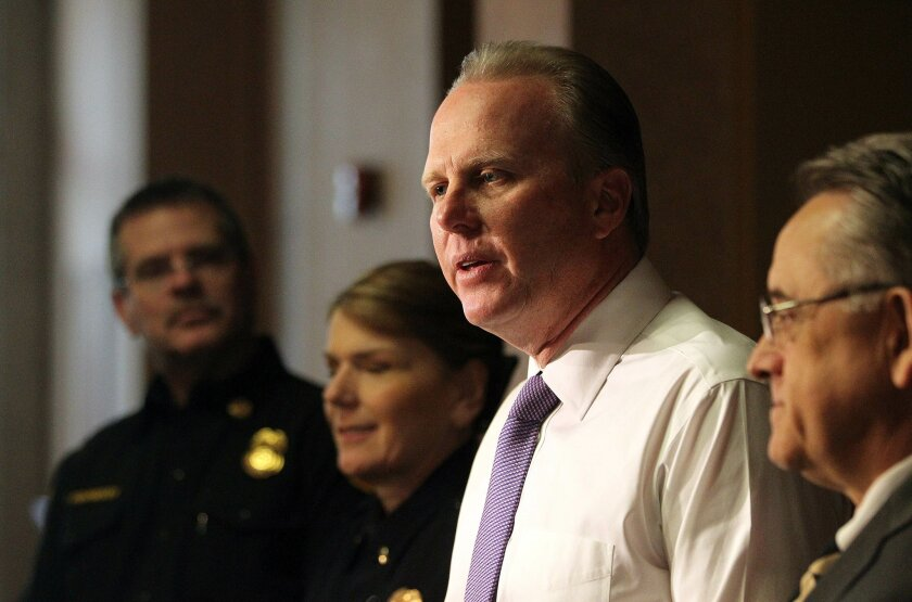 San Diego Mayor Kevin Faulconer speaks during a press conference