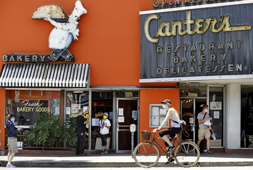 Canter's Delicatessen, known for its 24-hour service, has been on Fairfax Avenue since 1953.