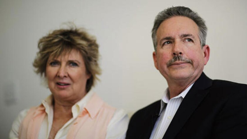 Richard Jones and wife Elizabeth at their attorney's Atlanta office while talking about their daughter Sarah Jones, the 27-year-old camera assistant killed Feb. 20 by a freight train while filming a movie in southeast Georgia.