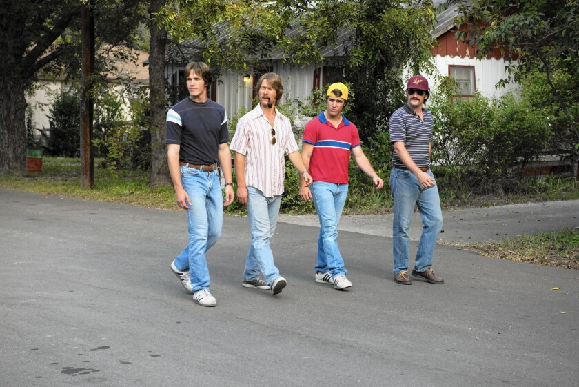 """Blake Jenner, left, Glen Powell, Temple Baker and Forrest Vickery star in Richard Linklater's """"Everybody Wants Some,"""" making an SXSW world premiere."""
