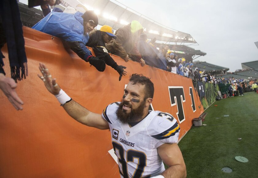 San Diego Chargers vs. Cincinnati Bengals at Paul Brown Stadium. Eric Weddle greets the fans after the 27-10 win over the Bengals.