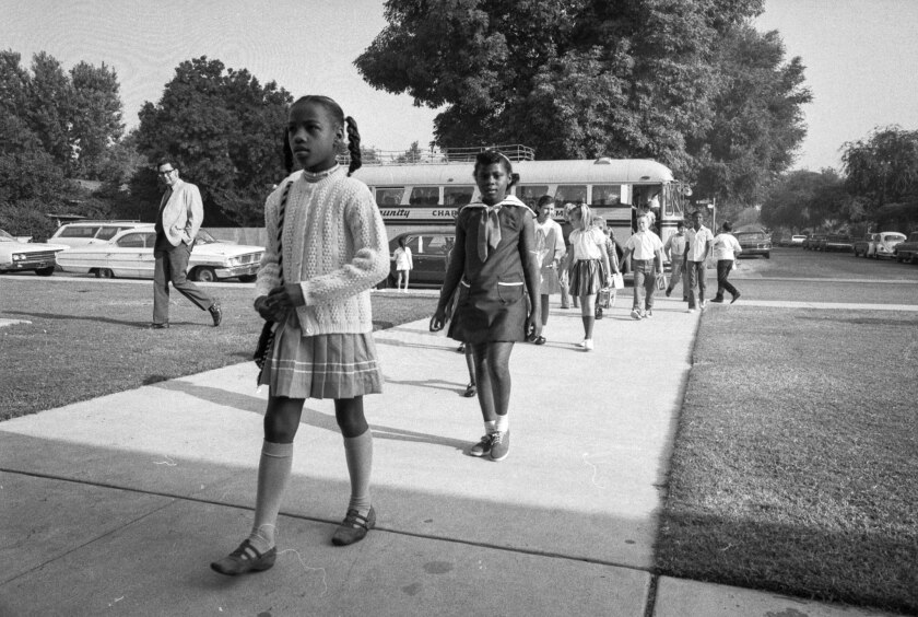Sep. 10, 1970: First black students arriving by bus to attend Plymouth Elementary School in Monrovia