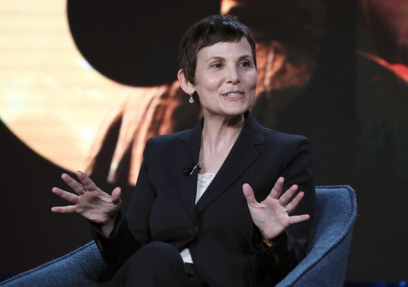 Julie McNamara speaks during the CBS All Access segment of the 2020 Winter TCA Tour in Pasadena.