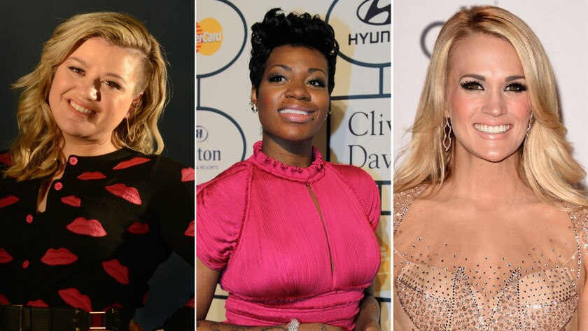 """Former """"American Idol"""" winners Kelly Clarkson, from left, Fantasia and Carrie Underwood are among the franchise's most successful alumni."""