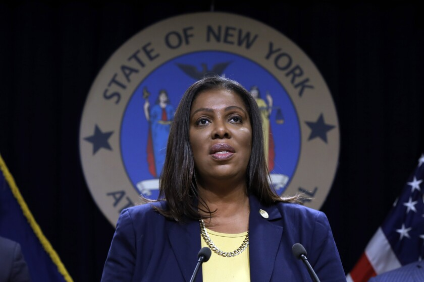 FILE - In this Nov. 19, 2019 file photo, New York State Attorney General Letitia James speaks during a news conference at her office in New York. New York's attorney general on Thursday, June 18, 2020, blasted the New York City Police Department and the mayor for ignoring repeated invitations to testify at a hearing on allegations that officers used excessive force to quell unrest and enforce a citywide curfew in the wake of George Floyd's death in Minneapolis. (AP Photo/Richard Drew, FIle)