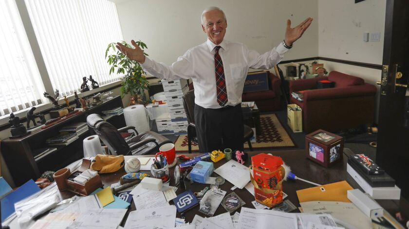 SAN DIEGO, CA 11/28/2018: Memorabilia is scattered around the office of San Diego County Supervisor