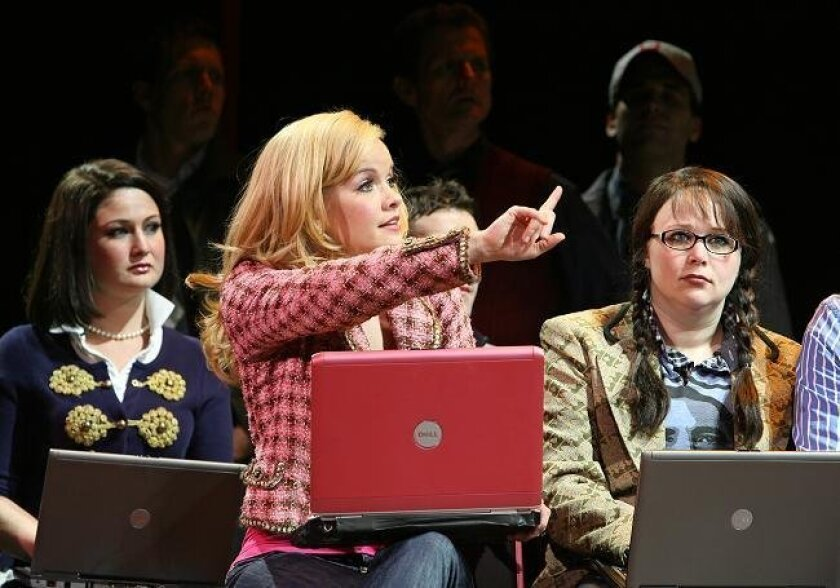 """From left: Megan Lewis as Vivienne, Becky Gulsvig as Elle Woods, Gretchen Burghart as Enid in the touringt musical """"Legally Blonde."""" Photo: Joan Marcus"""
