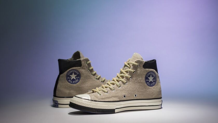Converse X Clot collaborating using the Chuck 70 has a hairy suede upper and a split painted-toe bumper, $120. The shoes are part of several collaborations celebrating Los Angeles.