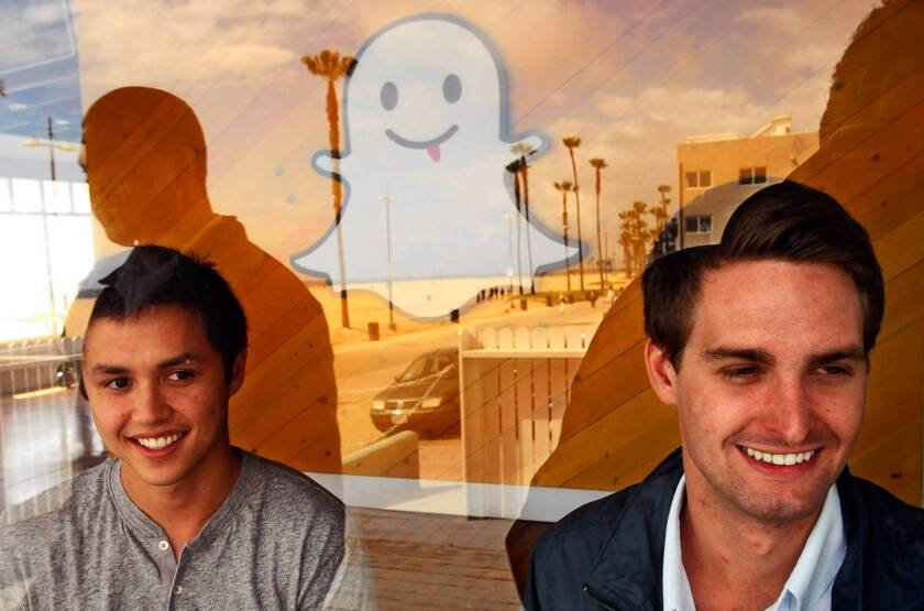 Snapchat founders Bobby Murphy, left, and Evan Spiegel have taken the position that their start-up is worth more than the $3 billion that Facebook offered.