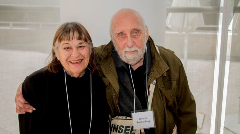 Old friends of the Antins --- Diane and Jerome Rothenberg --- attend the memorial at The Getty
