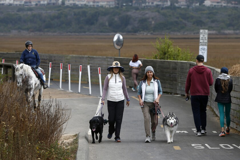 Two women walk their dogs as they stroll along a path at Upper Newport Bay in Newport Beach.