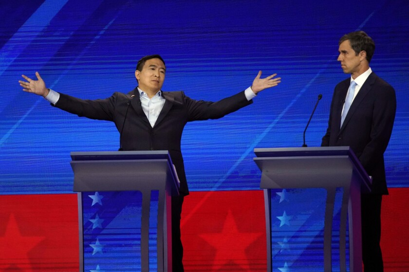 At the third Democratic debate, Andrew Yang and Beto O'Rourke