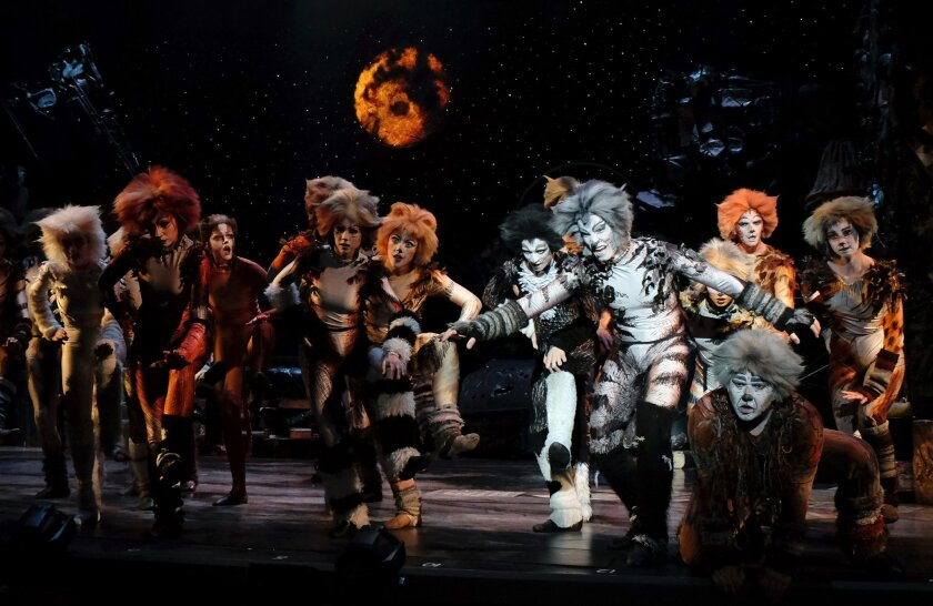"""Cody Walker, right foreground, as Munkustrap, leads the company in the Jellicle Ball dance in San Diego Musical Theatre's """"Cats"""" at the North Park Theatre."""