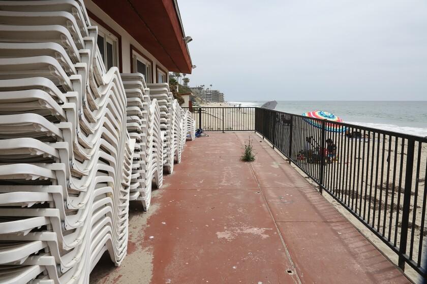 A view of the outer ballroom beach deck at the Hotel Laguna in Laguna Beach.
