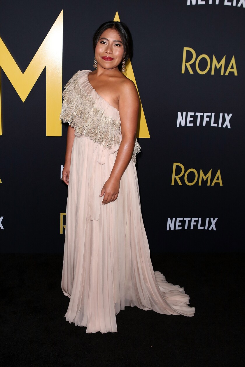 Yalitza Aparicio attends the Los Angeles Premiere Of 'Roma' held at the Egyptian Theatre on December 10, 2018 in Hollywood, California, United States. (Photo by Art Garcia/DDPixels)