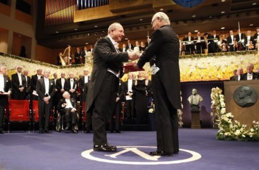 Immunologist Bruce A. Beutler, a graduate of UC San Diego and former chair of genetics at The Scripps Research Institute, was awarded the Nobel Prize in physiology or medicine on Dec. 10th by King Carl XVI Gustaf of Sweden on Dec. 10, 2011 in Stockholm.