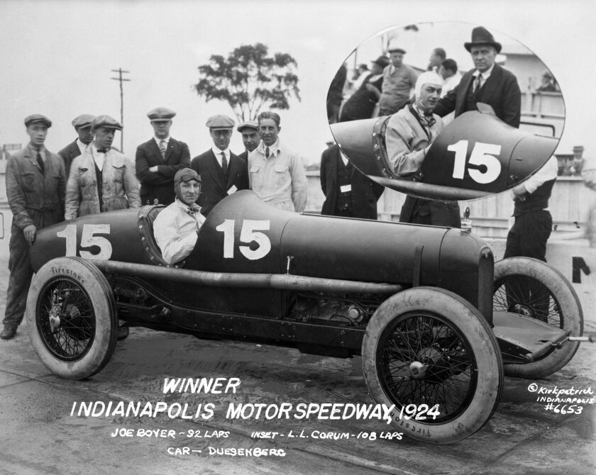 """In this 1924 photo provided by Indianapolis Motor Speedway, Joe Boyer poses in his race car at Indianapolis Motor Speedway in Indianapolis, Ind. Inset at top right is race driver LL Corum, in the same car. L.L. Corum started the 12th Indianapolis 500 auto race in 1924 and was relieved during the race by Joe Boyer. Both drivers were credited as """"co-winners"""" of the race. (IMS via AP)"""