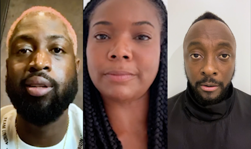 Dwyane Wade, Gabrielle Union and will.i.am participate in a video PSA with Creative Artists Agency.