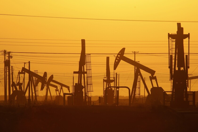 Pump jacks in an oil field over the Monterey Shale formation in Kern County.