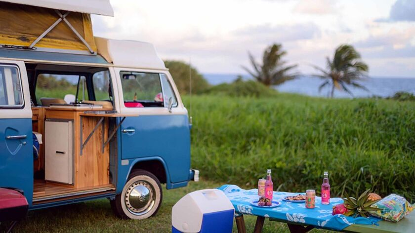 The 1975 VW camper van that John Nelson and his wife rented through Outdoorsy, a website where you c