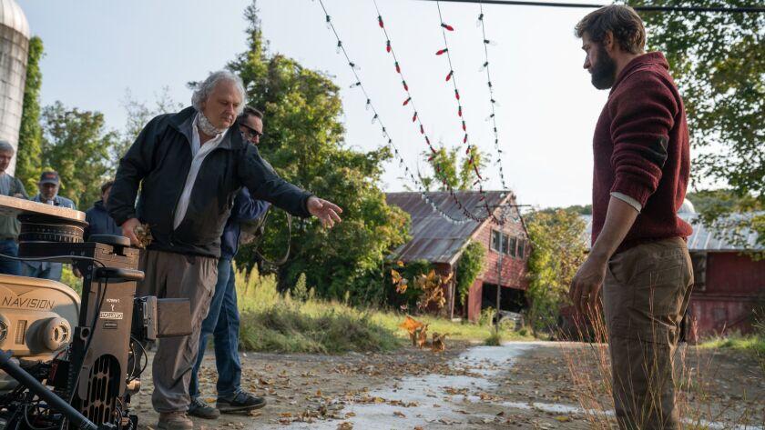 Left to right: Production Designer Jeffrey Beecroft and Director/Actor John Krasinski on the set of